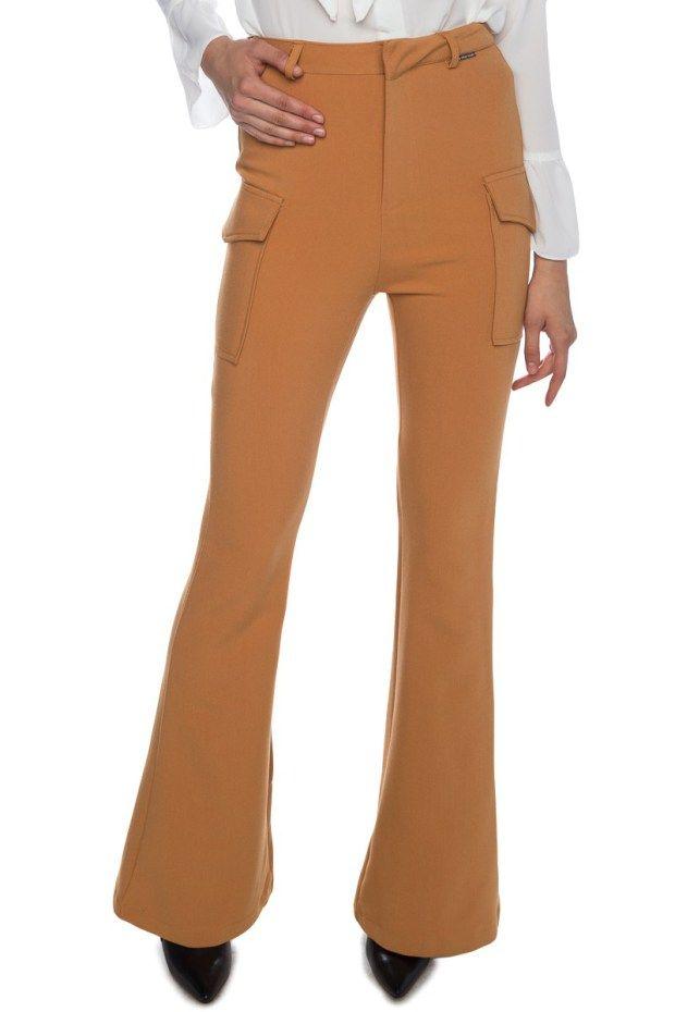 Κάμελ παντελόνι καμπάνα με τσέπες