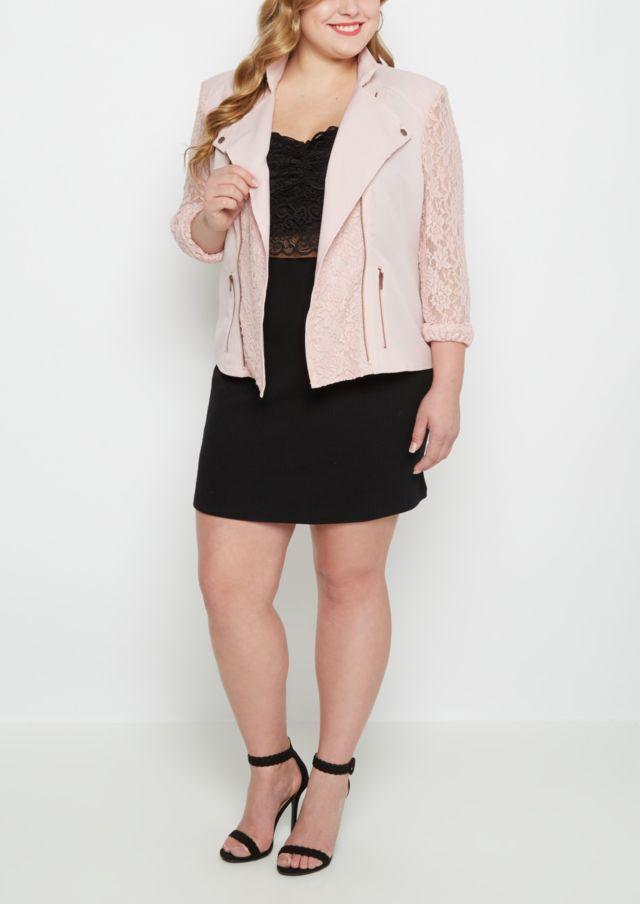image of Plus Pink Lace Moto Jacket