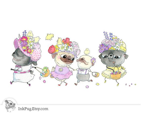 Pug Easter Art - Cute Easter Parade of Pugs with Bonnets, Baskets & Spring Dresses - from Original Pug Dog Watercolor Painting by InkPug!
