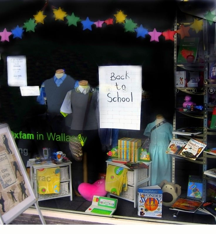 Back to school window - school uniforms and educational books