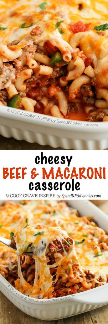 Cheesy Beef & Macaroni Casserole See more tips here: www.FitWithJenna.com Join m…   – Food