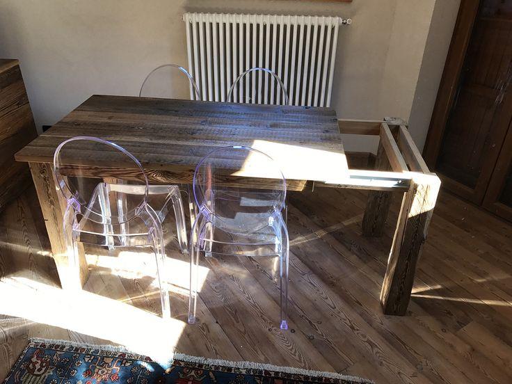 Stół rozkładany ze starego drewna/ Table extensible en vieux bois