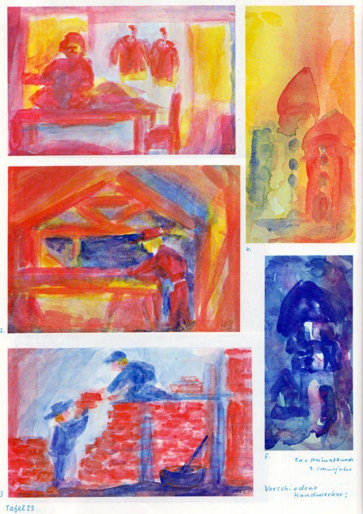 Taf. 25: Heimatkunde und Handwerksberufe (3. S.j.) 1. Schneider in Rot in einem Schneideratelier in Rot-Gelb mit roten, steifen Jacken an Kleiderbügeln in Rot im Hintergr. 2. Ein Schreiner in Rot mit gelb. Gesicht und rotem Cowboyhut steht an einem Tisch in Rot mit gelber Oberfläche in einer rot-gelben Halle. Der Schreiner hobelt wahrscheinlich ein Holz. Im Hintergr. ist die Baukonstruktion in Rot mit bl. Hintergr. Der Hut erscheint ziemlich unpraktisch.  (...)