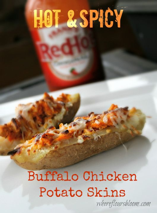 hot and spicy buffalo chicken potato skins