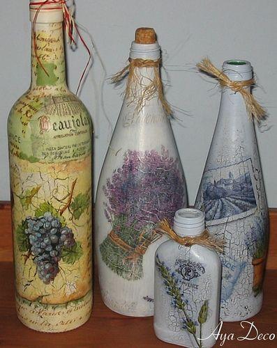 Decoupage bottles...By: Ayadeco.pl