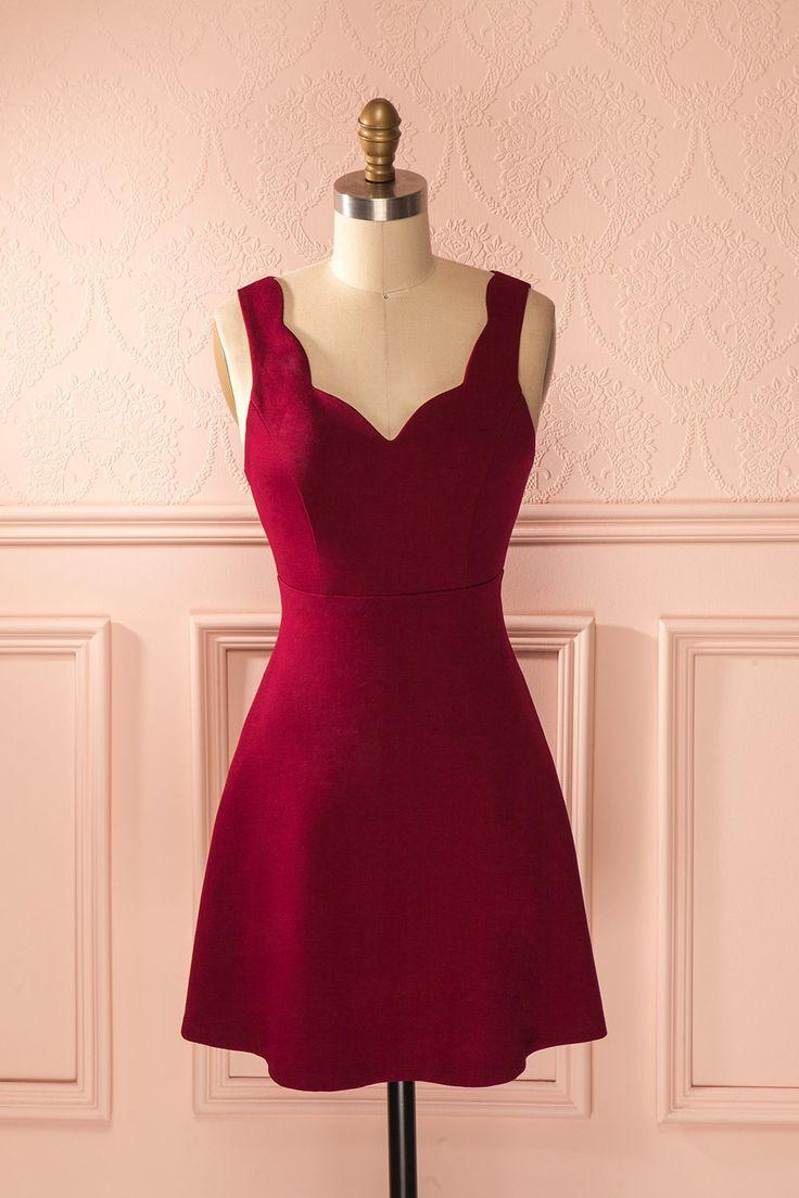 $45 Ottiliana Burgundy - Burgundy sleeveless A-line dress Boutique 1861