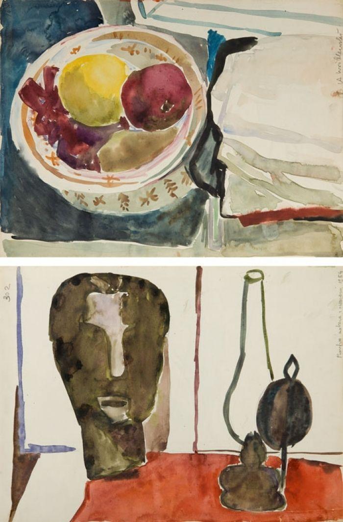 Andrzej Wróblewski - [Martwa natura z owocami, Martwa natura nr 168] Martwa natura z lampą naftową