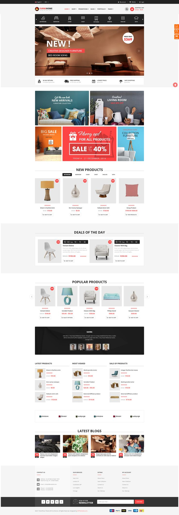 FurniHomeis designed specifically for furniture and interior #website with 2 beautiful homepages. However, theme is so flexible with a lot of customization options, so it can be used for any kind of online store. #theme #wordpress #design