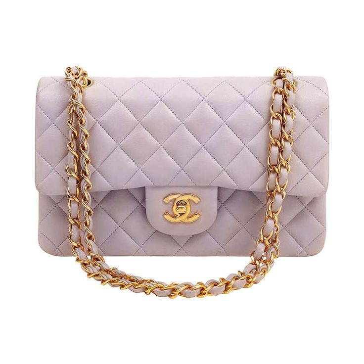Chanel Classic Lambskin Bag in Lavender   From a collection of rare vintage handbags and purses at http://www.1stdibs.com/fashion/accessories/handbags-purses/