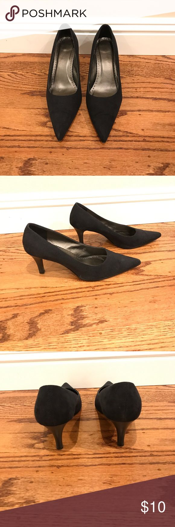 Marks&Spencer black suede stilettos Barely worn classic black suede stilettos with 2 inch kitten heels in size 7.5. They are super comfortable for any occasions. No trade, bundle up to save 15% and shipping! Marks&Spencer Shoes Heels