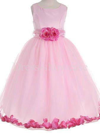 Scoop Pink Taffeta Sleeveless Floor-Length Flower Girl Dress #flowergirls #flowergirldress #cutedress #dress #beauty #cute #wedding #birthdaydress