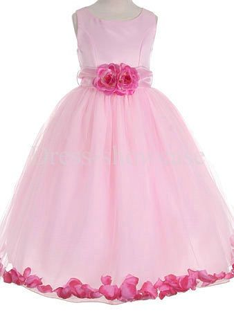 Scoop Pink Taffeta Sleeveless Floor-Length Flower Girl Dress #flowergirls #flowergirldress #cutedress #dress #beauty #cute #wedding #birthdaydress