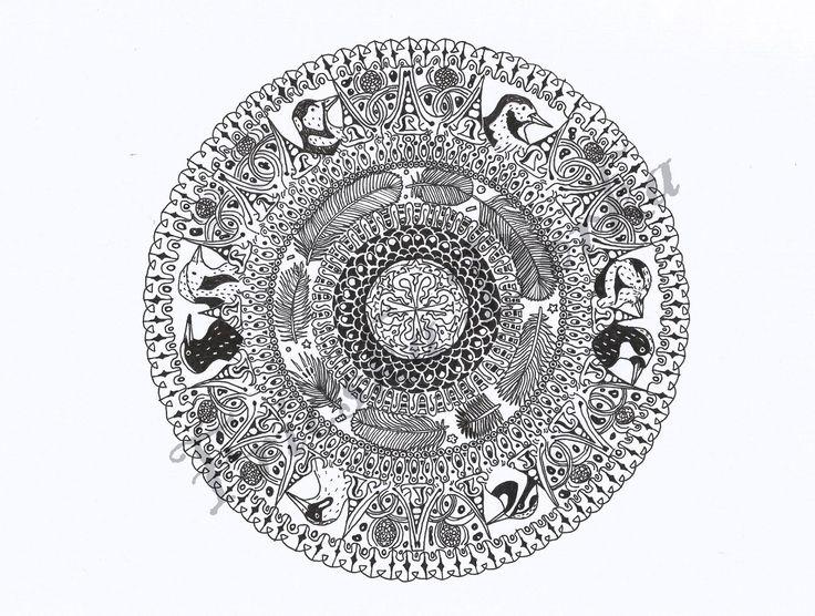 Woodpecker mandala / bird shape black and white medal ink zentangle /