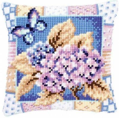 Подушка для вышивания Vervaco PN-0145105 Гортензия и бабочка