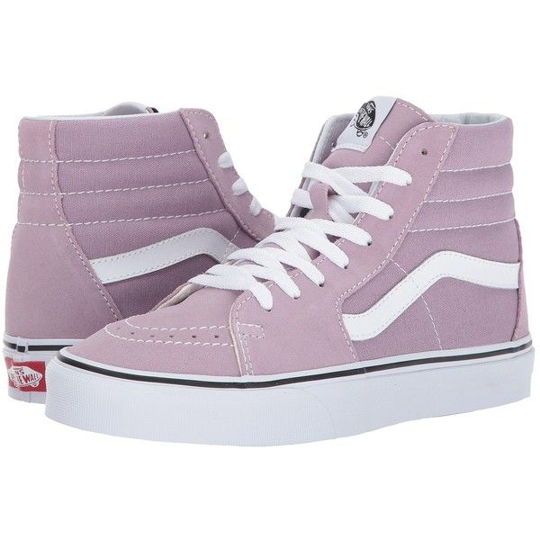 Vans SK8-Hi (Sea Fog/True White) Skate Shoes ($65) ❤ liked on Polyvore featuring shoes, sneakers, high-top sneakers, vans high tops, leather sneakers, white skate shoes and white high tops