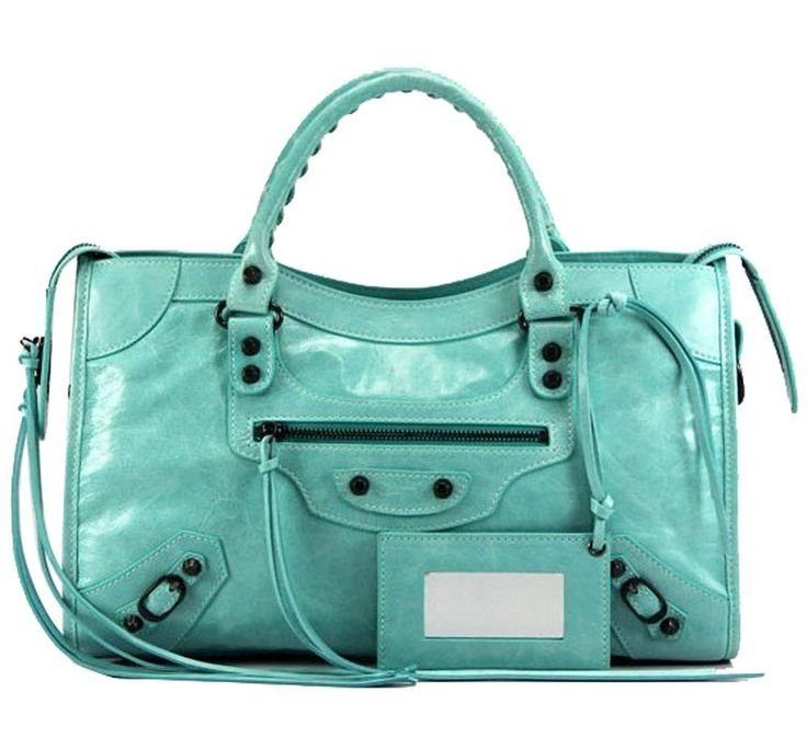 Fatteen Cat Women's Leather Handbags (Medium, Green-blue). Cow leather. Fabric lining. Shoulder strap for Large size, cross body strap for medium size. Large: 15.7''(L), 10''(H), 3''(W). Medium: 14''(L), 10''(H), 2.5''(W).