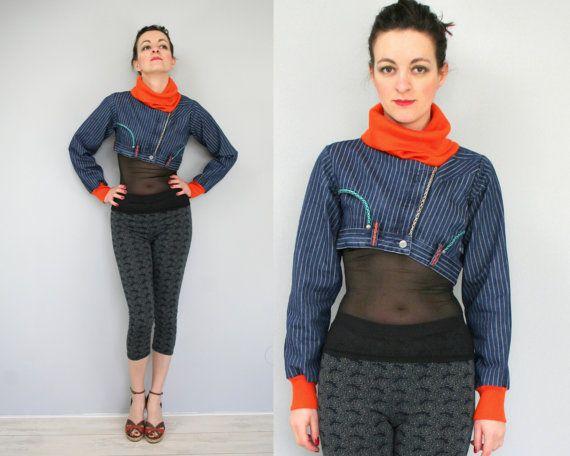 Denim jacket with bright neon orange collar door Bartinki #remake #inspiration #jeans #upcycle