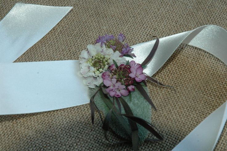 Wrist corsage for the flower girl, with scabiosa and lamb's ear, from Turnbull Creek Farm