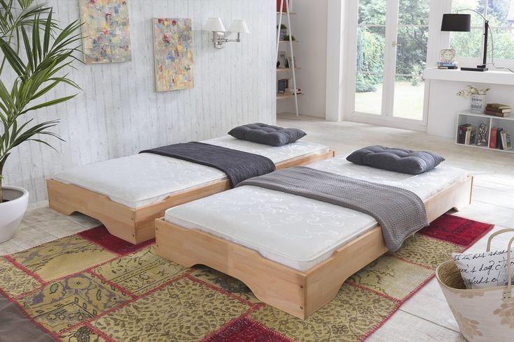 Stapelbetten Gästebett 2x Betten 100x200 Kernbuche massiv (Betten) - Möbel günstig kaufen