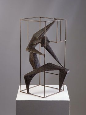 Gerður Helgadóttir (1928–1975) was an Icelandic sculptor and stained glass artist. Iron sculpture: unknown political prisoners from the period 1952-53. Work was the contribution made in the competition on behalf of the Bristish Council.
