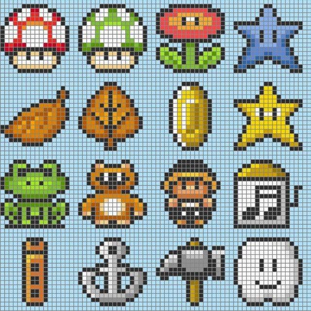 Mario items perler patterns by 8bitofeverything