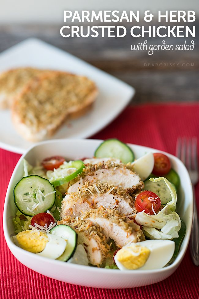 Parmesan Herb Crusted Chicken with Garden Salad | my faves--food | Pinterest | Crusted chicken, Parmesan and Crusts