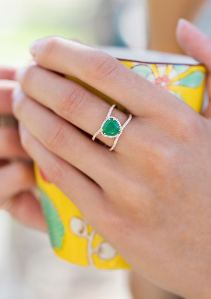 "14kt gold and white pave diamond Double Band Petite triangle Emerald ring **total diamond weight: .20ct **total emerald weight: 1.20kt ** ""Natural emerald stone opens and nurtures the heart and the He"