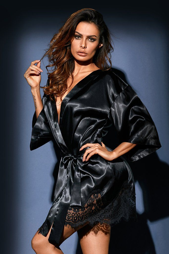 Luxurious Black Satin Robe Nightwear  b8c136611