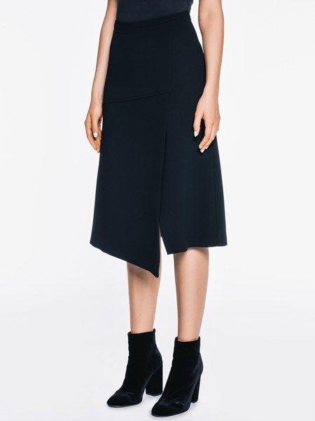 Crepe Asymmetric Skirt by Veronika Maine