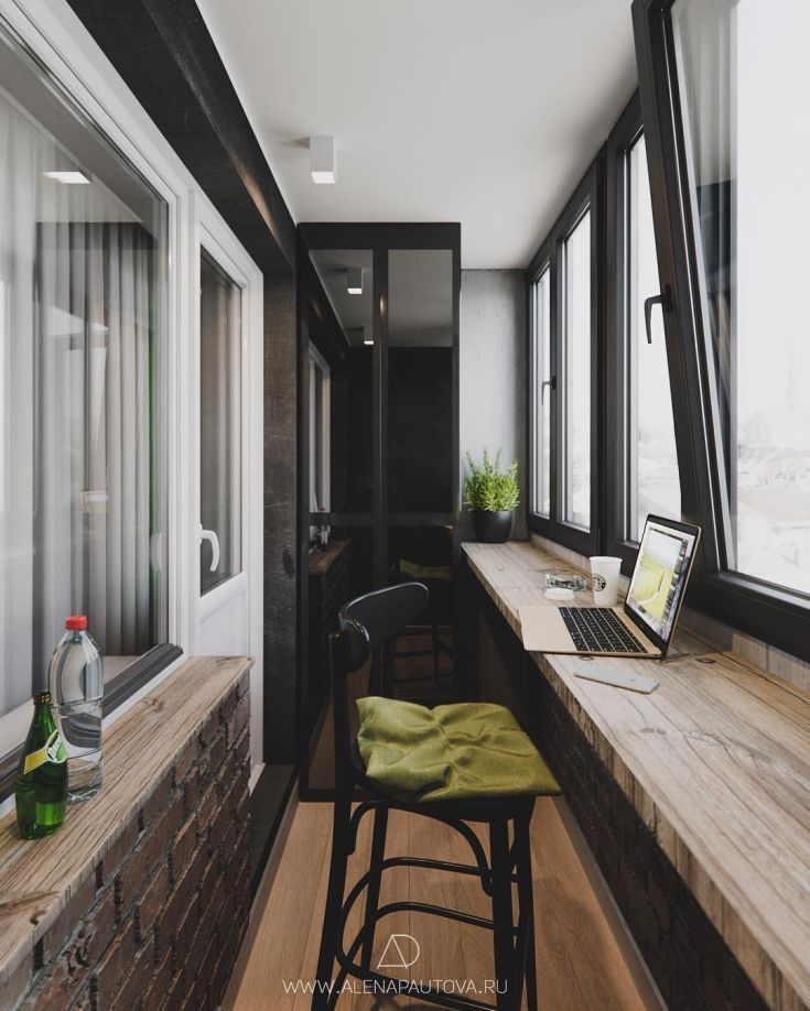 дизайн балкона в стиле лофт 2