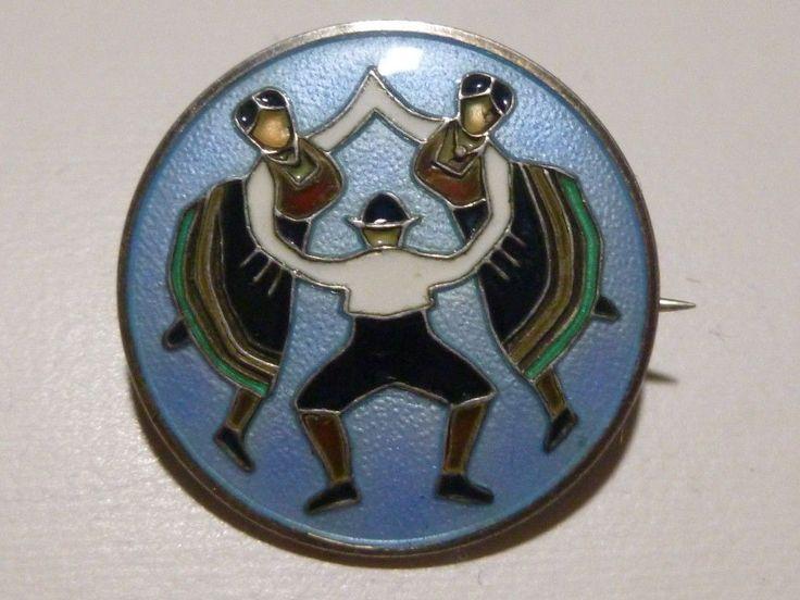 Norge Nils M Elvik 925s Norway Sterling Silver Enamel Bunad Dancers Brooch Pin | eBay