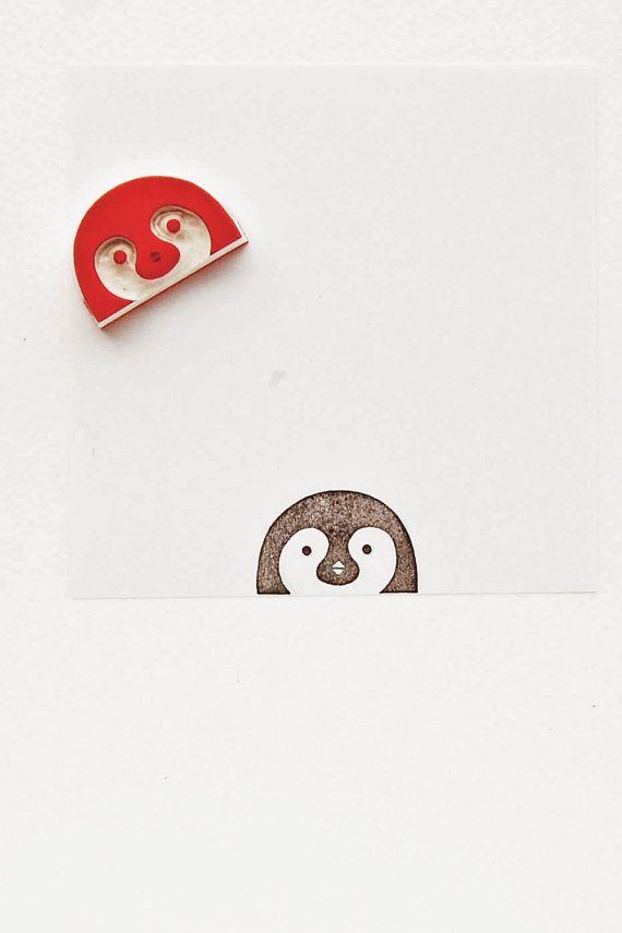Pretty curious peek-a-boo penguin stamp kids gift  by WoodlandTale