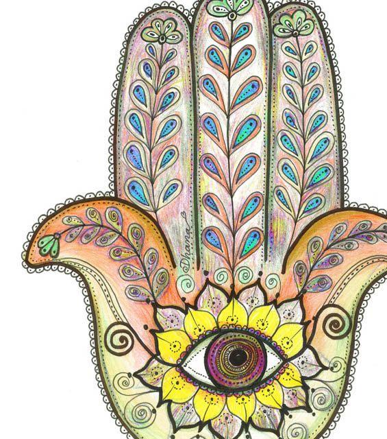 Arte etnica arancione giallo mano di Hamsa stampa colorato
