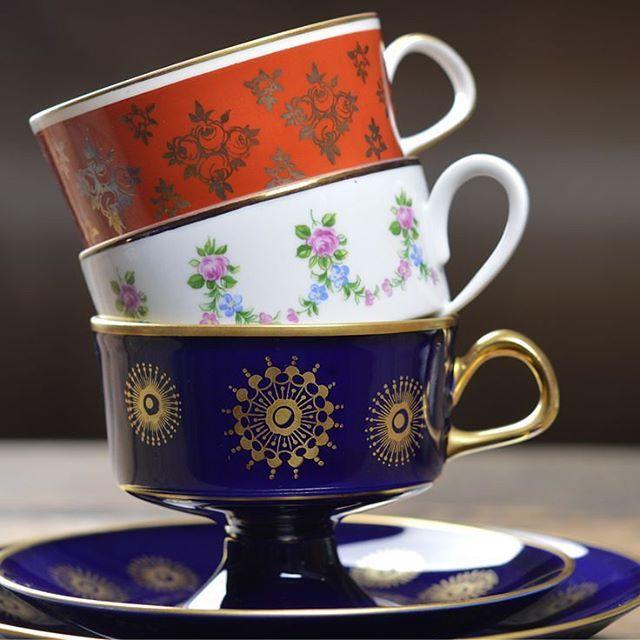 East german teacup trios#lichte #realcobalt #ddr #gdr #eastgermany #ostblockaustralia #melbourne #melbourne #midcentury #1950s #teacup #trios
