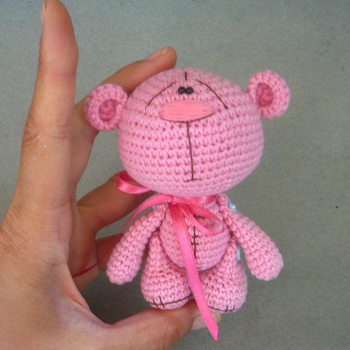Розовый вязание крючком Мишка Amigurumi конфеты медведь crochetorium