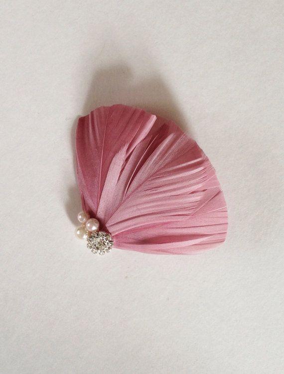 Dusty mauve feather fascinator, bridesmaids, hair accessories, bridal hair piece, feather hair clip,