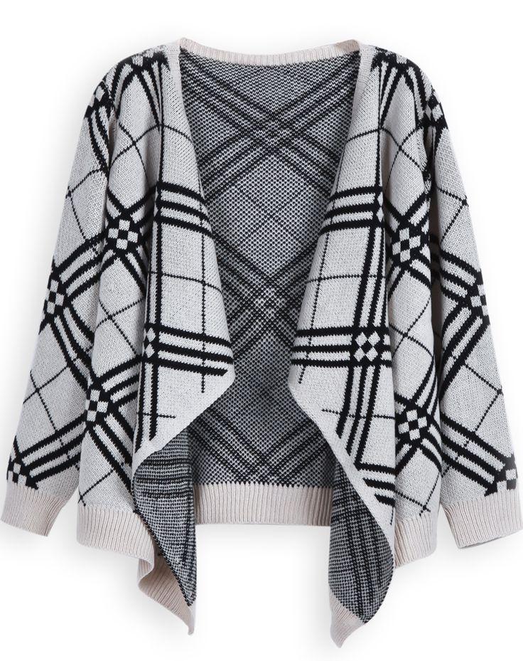 Beige Long Sleeve Geometric Pattern Cardigan Sweater US$32.46