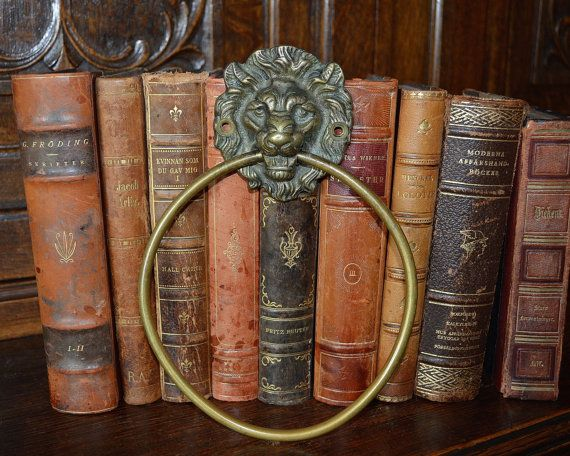 vintage english brass lion head towel ring by