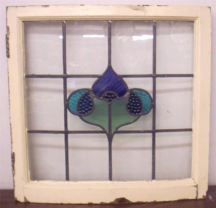 """OLD ENGLISH LEADED STAINED GLASS WINDOW Very Unusual Curved Frame 23"""" x 22.75"""""""