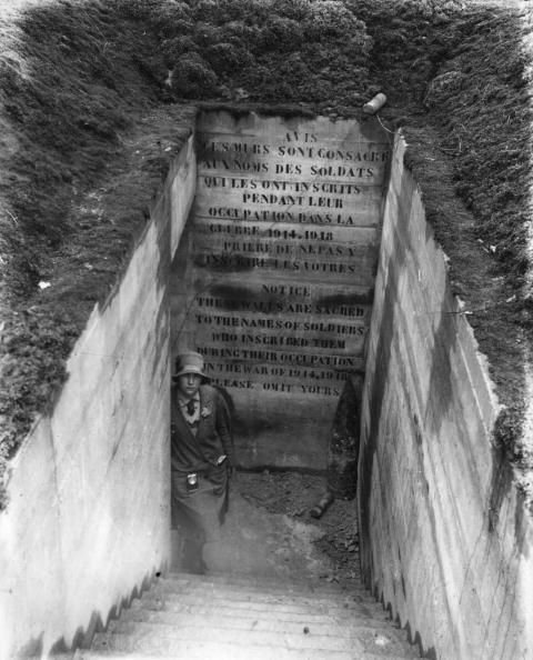 The entrance to Grange Tunnel Vimy Ridge preserved as a memorial to over 11000 Candadian troops who lost their lives there during the battle of Arras