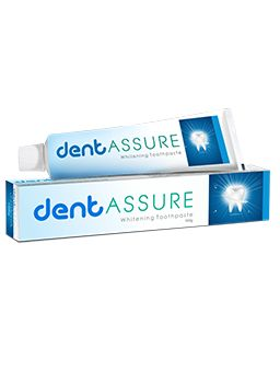 Dentassure Whitening Toothpaste gently polishes the teeth, removes surface stains, such as those caused by drinking coffee or smoking and helps retain natural whiteness of the teeth. It provides a cool mint flavour that gives long lasting fresh breath and keeps your mouth feeling fresh and clean all day