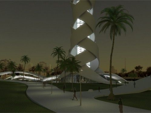 Architects Giuseppe Farris and Stefan Schoning joined in an effort to propose the Woven Tower spiral interwoven design representing various aspects of the culture of Dubai.