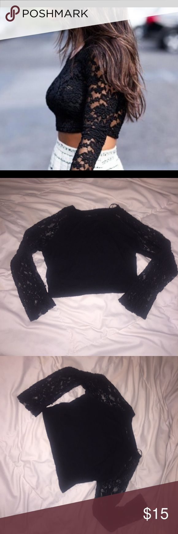 💋Black Lace Crop top Black Lace Crop Top. Size small. 3/4 long sleeve. Only the sleeves are see through. NWOT. Perfect new condition Tops Crop Tops