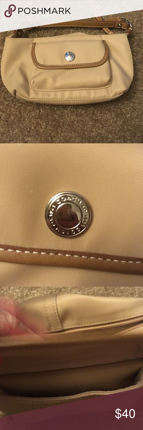 Coach clutch Super cute Coach clutch with leather details. Used and in very nice condition. Perfect for a night out! Coach Bags Clutches & Wristlets