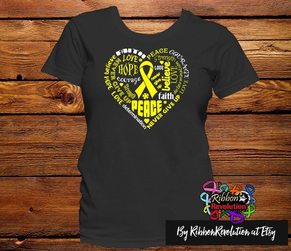 Yellow Awareness Heart Ribbon Shirts for causes such as Adenosarcoma, Endometriosis, Ewing Sarcoma, Osteosarcoma, Sarcoma, Spina Bifida and Testicular Cancer. This original empowering design features words like Faith, Peace, Courage, Love, Hope, Determination, Strength, Believe and Never Give Up in the shape of a heart.  #endometriosisawareness #sarcomaawareness #SpinaBifidaawareness