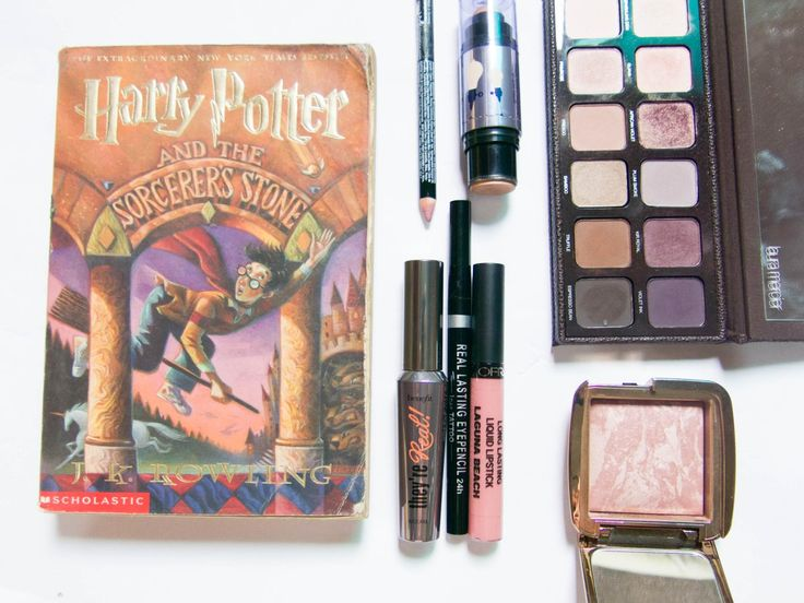 Harry Potter and the Sorcerer's Stone-inspired makeup! This look features violets, browns, and goldish shades using makeup from Benefit, Ofra Cosmetics, Hourglass, Laura Mericer, K-Palette, and NYX.