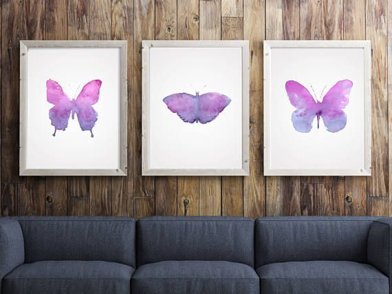 Watercolor Butterfly Winged Animal Print Abstract Pink by LadyWatercolor | Etsy #watercolor #butterfly #insect #animal #fly #wing #print #art #set #baby #nursery #paint #pink #wild #abstract