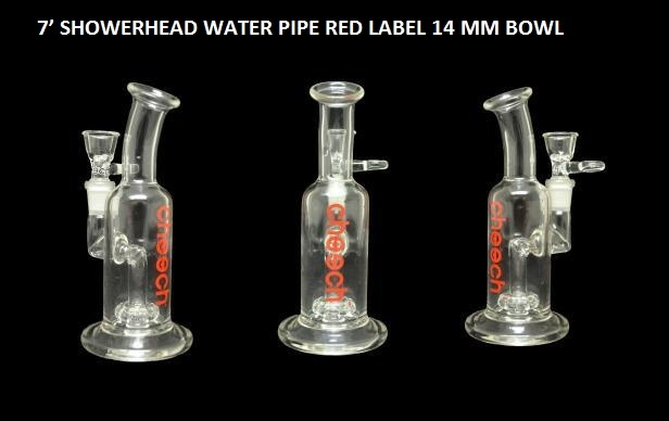 7' SHOWERHEAD WATER PIPE RED LABEL 14 MM BOWL $69.99