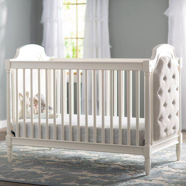 Viv Rae Josie Upholstered 3 In 1 Convertible Crib Reviews Wayfair Upholstered Crib Baby Cribs Convertible Convertible Crib