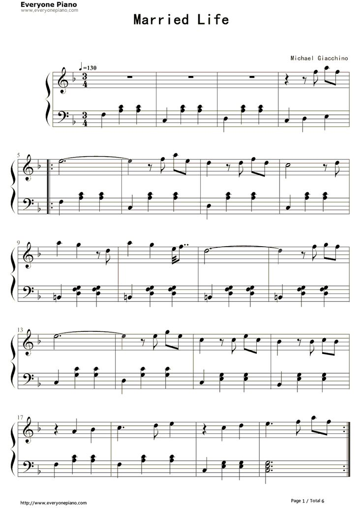 u0026quot;Married Lifeu0026quot; theme song from u0026quot;Upu0026quot; : sheet music. : Pinterest : Married life, Search and Life
